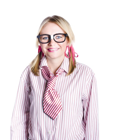 Adorable nerdy or geeky young business person with plaster on spectacles, white background Stock Photo - 18767584