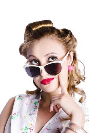Portrait of glamorous young woman with retro hairstyle in sunglasses, white background Stock Photo - 18767576