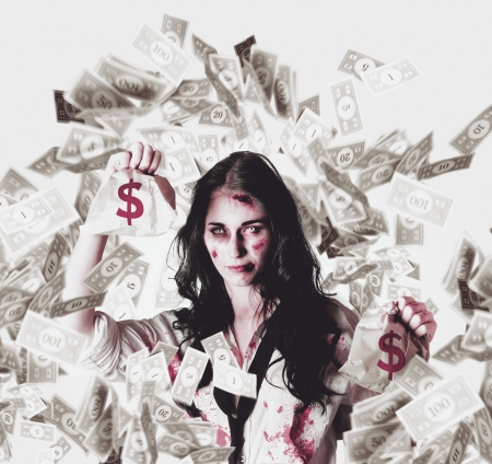 Zombie business girl holding a dead loan while swimming through the debt from a cash flow negative interest rate photo