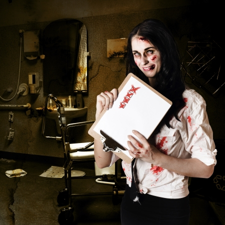 Chilling zombie nurse standing in decrepit hospital with unhealthy checklist in a depiction of bad health photo