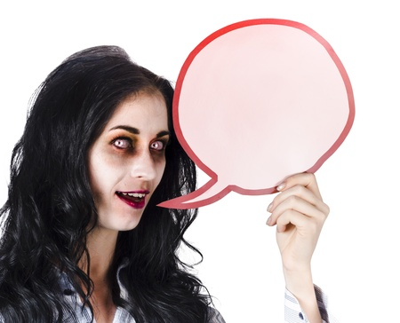 Woman in scary Halloween makeup with speech bubble and copy space, white background Stock Photo - 19062731