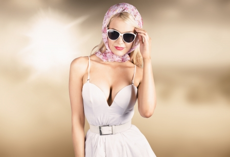 High class female fashion model wearing elegant retro attire. Retro fashion styling photo