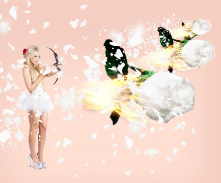 Marvelous young cupid woman shooting romantic fire arrows of roses into the sky photo