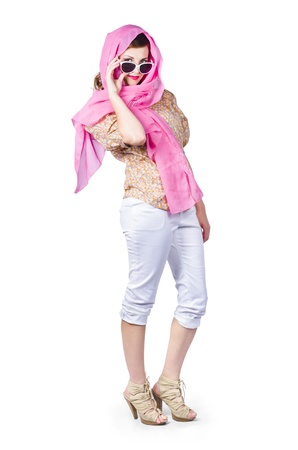 A full body portrait of a classy vintage woman wrapped in a pink scarf photo