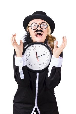 Crazy man with bowler hat fake mustache and beard holding large clock  photo
