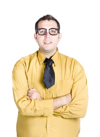 Nerdy young man in glasses and shirt with tie on white background Stock Photo - 20004509