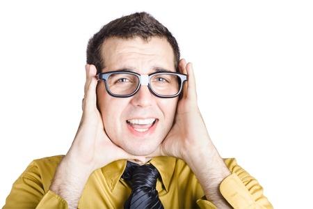 Portrait of worried businessman with headache, white background Stock Photo - 19977541