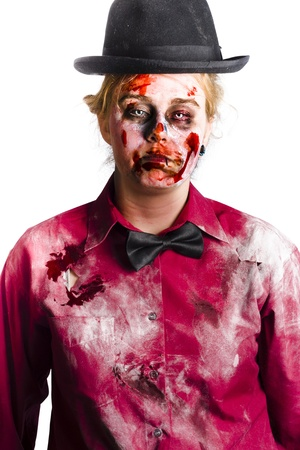 Portrait of a bloody, undead woman, wearing a black bow tie and formal top hat, with dusty rotten and torn collared shirt photo