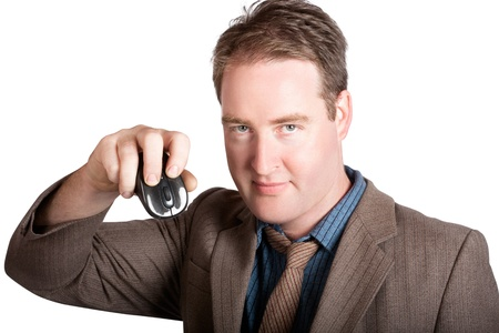 Isolated business man right clicking computer mouse. Online search photo
