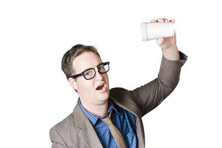 Geeky male staff member holding a cup of coffee photo