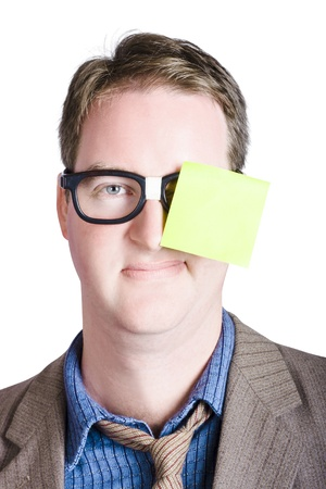 Male administration assistant with blank memo on his glasses photo