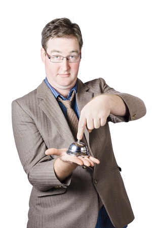 Smart male consumer pressing shopping counter bell when in need of assistance.  Stock Photo - 20047140