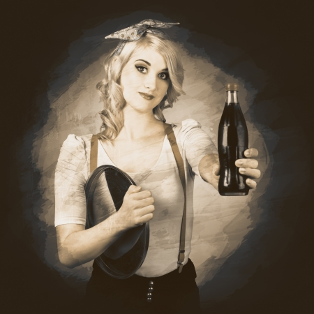 Retro advert. Grunge photo of a vintage pinup waitress giving cola bottle at service station photo