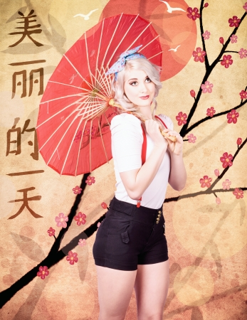 Oriental fine art image of a beautiful woman celebrating the chinese new year with beautiful day written in traditional text on a plum blossom design background photo