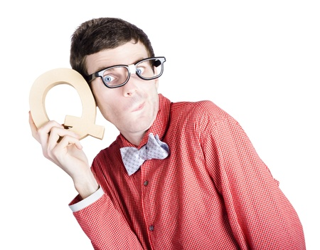 Young nerd businessman holding the letter Q for question mark when problem solving over white background photo