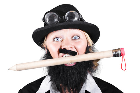 Woman With Fake Mustache And Beard Holding Large Pencil In Mouth photo