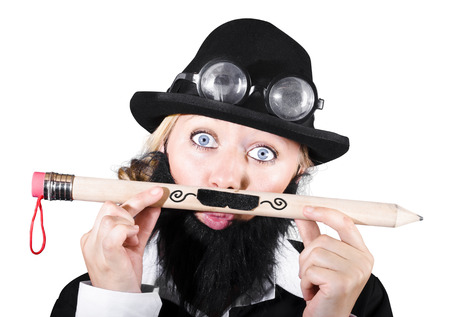 Woman With Eyeglasses Over Bowler Hat Holding Large Pencil With Mustache photo