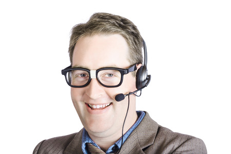 Portrait Of Happy Customer Care Male Executive With Headset On White Background Stock Photo - 22309174