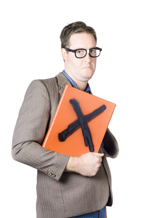 Mature Professor Holding A Book Marked With Cross Sign On White Background Stock Photo - 22309213