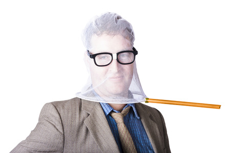 Happy Businessmans Face Covered With Butterfly Net On White Background photo