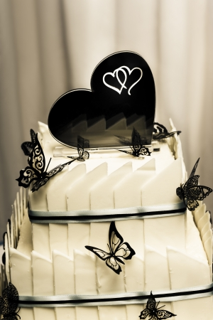 Closeup shot on the top of a layered white chocolate wedding cake with butterfly and hearts detail photo