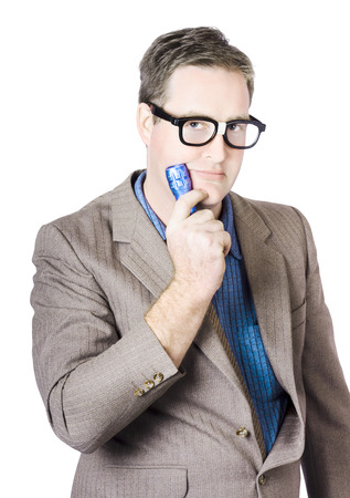 Businessman with a flashlight in hand in a search concept photo
