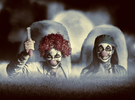 Scary combined photo illustration of 2 evil zombie clown doctors rising from the dead at a spooky cemetery amongst a set of headstones during a full moon night of terror illustration