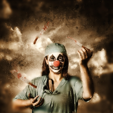 Creative fine art photo of an evil surgeon clown juggling bloody knives outside in the rain. The game of probability and chance in surgery  photo