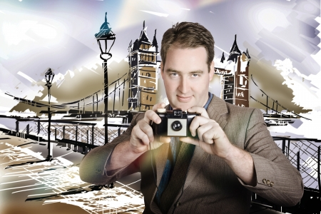Photo illustration of a sightseeing person on vacation taking photograph with retro camera at London vacation destination illustration
