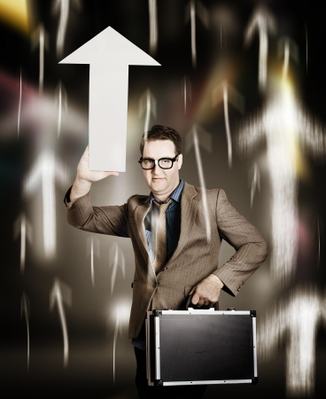 Abstract portrait of a high flying business man pointing up with a white arrow sign board amongst a boom of moving arrows. Financial gain photo