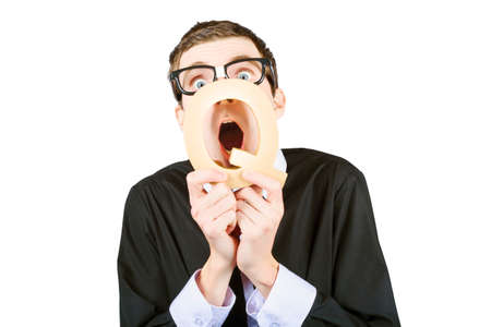 man yelling: Isolated picture of an anxious smart man yelling out query though q sign. Question time Stock Photo