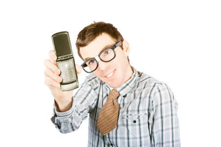 yuppie: Comical photo of a nerdy person taking funny selfie with smart mobile phone isolated on white background