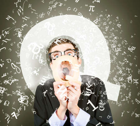 overwhelm: Creative humorous photo of a science geek asking quick question through q letter. Questions and answers