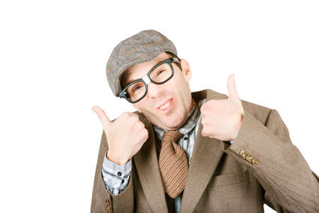 quirky: Odd and quirky male nerd giving a two thumb gesture of good to go on white background