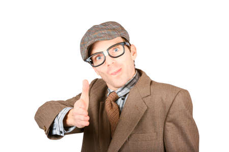 suited up: Isolated photograph of a suited up geek extending arm for handshake on white background. Smart trade agreement