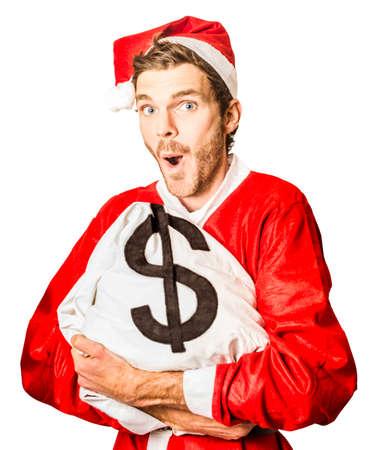 banco dinero: Cuadro aislado de una bolsa de dinero signo dólar feliz de santa claus sosteniendo en la temporada para los especiales de Navidad Foto de archivo