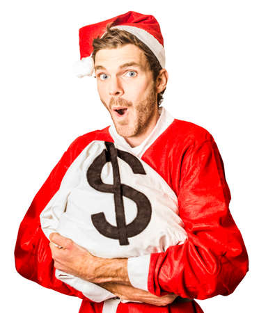 dollar bag: Isolated picture of a happy santa claus holding dollar sign money bag in season for christmas specials Stock Photo