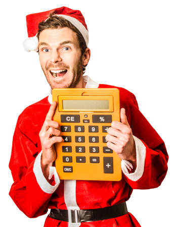 christmas savings: Over white image of a happy holiday santa clause holding large calculator when accounting for boxing day discounts. Crazy christmas savings