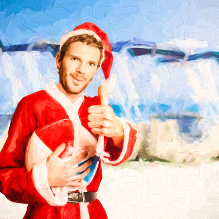 relaxing beach: Mixed media photo illustration of a tropical beach santa giving a thumbs up for a perfect december holiday in Australia. Merry Christmas mate Stock Photo