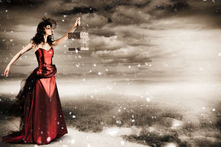 maquillaje fantasia: Mujer hermosa de la manera del invierno En Creative maquillaje manteniendo abierta la jaula de pájaros en el paisaje de la montaña en una representación de la Libertad Foto de archivo