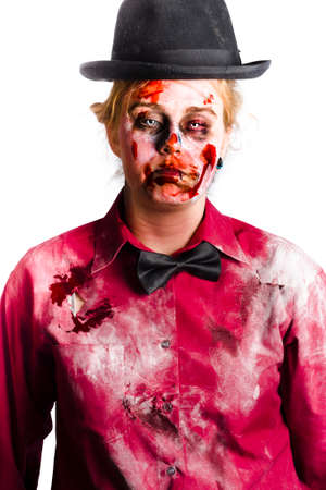 gory: Portrait of a bloody, undead woman, wearing a black bow tie and formal top hat, with dusty rotten and torn collared shirt