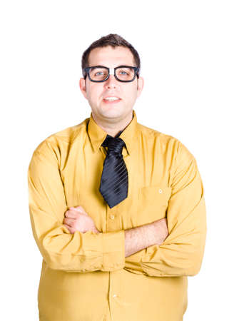 half body: Half body portrait of nerdy young man in glasses and shirt with tie, white background Stock Photo