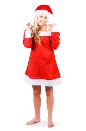 merrymaking: Isolated Fully Body Portrait Of A Cute Female Santas Little Helper Elf Looking Happy On White Background