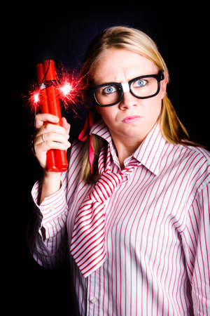 burning time: Fighting Back With Fury, Explosive Nerd Fires Up Effusive Firearms With Expression Of Frustration Stock Photo