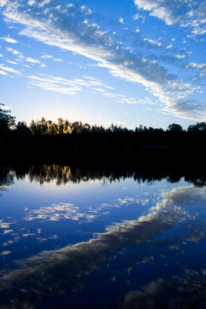 estuary: Beauty Captured As Clouds Reflected Off A Blue Lagoon, Picture Taken: Murrumba Downs Estuary, Queensland, Australia Stock Photo