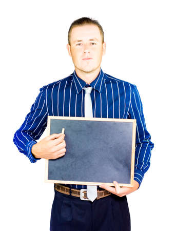 studio photograph: Studio photograph of a business person holding chalk and blank board on white copyspace background
