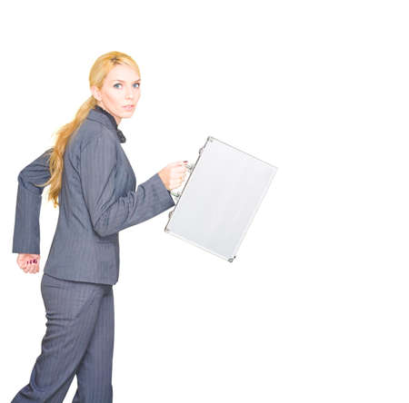 titled: Professional Young Caucasian Business Woman Holding Briefcase And Wearing Fashionable Corporate Attire Running In A Isolated Studio Portrait Titled Business Run