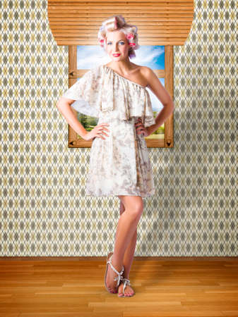 fifties: Old Styled Interior Portrait Of A Happy Young Retro Pin Up Woman With Fifties Hair Style And Classic Makeup