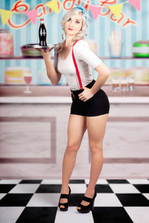 candy bar: Retro portrait of a beautiful pin-up woman serving up soda drinks at a vintage candy bar on. Hand drawn clip art background