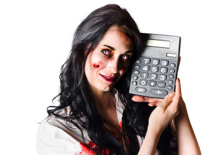 overdrawn: Happy zombie businesswoman with calculator, budget cuts concept on white background